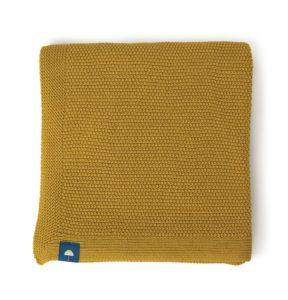 couverture moutarde en coton bio pour naisance de bébé