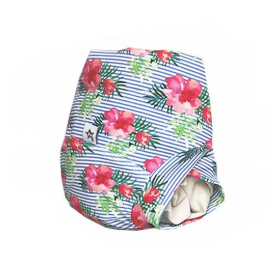 Couche lavable fleurie pour baby girl