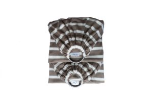 double sling rayé taupe pour porter bebe facilement