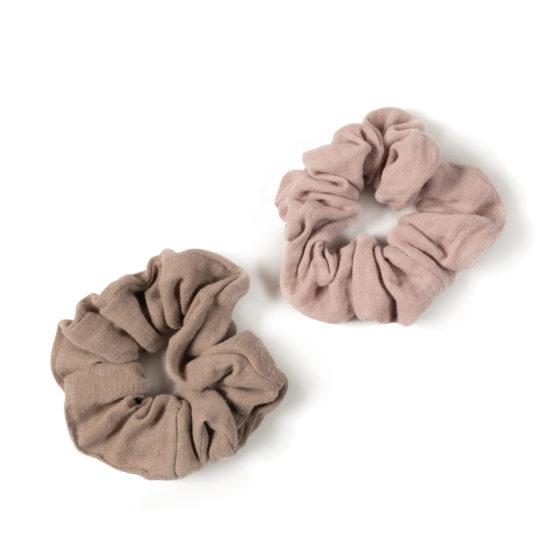 Chouchou en coton Nixnut, rose et taupe pour maman et petite fille